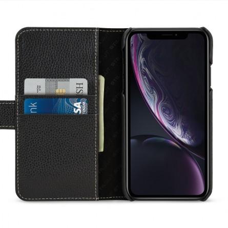 Etui iPhone Xr portefeuille Talis en cuir véritable grainé Noir - StilGut