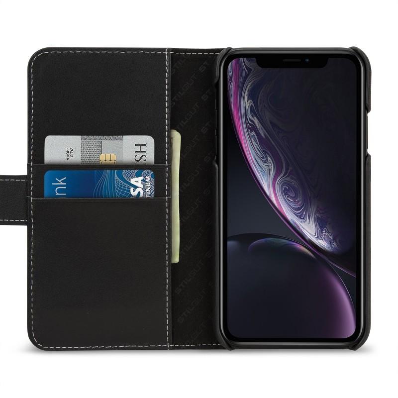 Etui iPhone Xr portefeuille Talis en cuir véritable Noir Nappa - StilGut