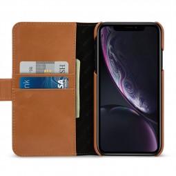 Etui iPhone Xr portefeuille Talis en cuir véritable Cognac - StilGut