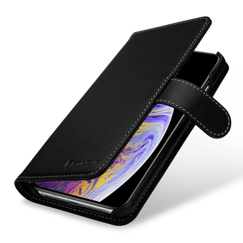 Etui iPhone Xs Max portefeuille Talis en cuir véritable Noir Nappa - StilGut