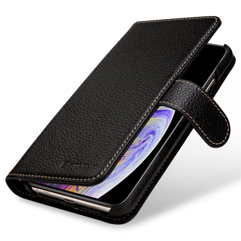 Etui iPhone Xs Max portefeuille Talis en cuir véritable grainé Noir - StilGut