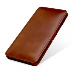 Etui Galaxy S10 Plus Book Type avec clip en cuir véritable cognac - StilGut
