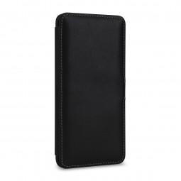 Etui Galaxy S10 Plus Book Type avec clip en cuir véritable noir Nappa – StilGut
