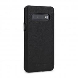 Etui Galaxy S10 Book Type avec clip en cuir véritable noir - StilGut