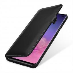 Etui Galaxy S10 Book Type avec clip en cuir véritable noir nappa - Stilgut