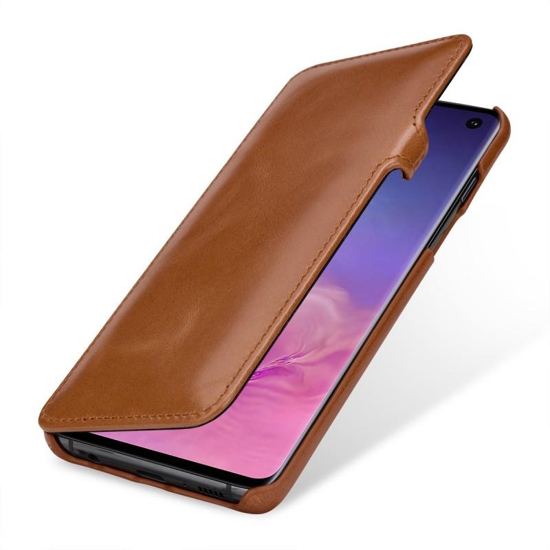 Etui Galaxy S10 Book Type avec clip en cuir véritable cognac - StilGut