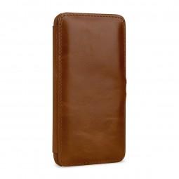 Etui Galaxy S10e Book Type avec clip en cuir véritable cognac - StilGut