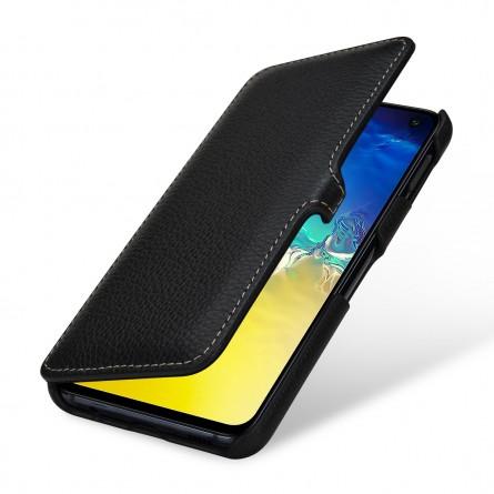 Etui Galaxy S10e Book Type avec clip en cuir véritable noir - StilGut