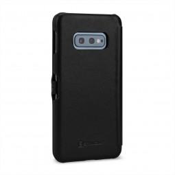 Etui Galaxy S10e Book Type avec clip en cuir véritable noir Nappa – StilGut
