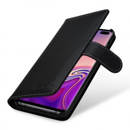 Etui Galaxy S10 Plus portefeuille Talis en cuir véritable Noir Nappa - StilGut