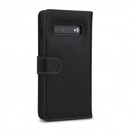 Etui Galaxy S10 Plus portefeuille Talis en cuir véritable grainé Noir - StilGut