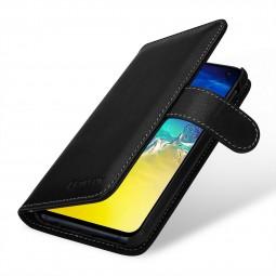 Etui Galaxy S10e portefeuille Talis en cuir véritable Noir Nappa - StilGut