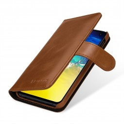 Etui Galaxy S10e portefeuille Talis en cuir véritable Cognac - StilGut