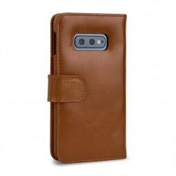 Etui iPhone Xs / X portefeuille Talis en cuir véritable Cognac - StilGut