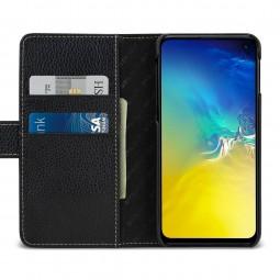 Etui Galaxy S10e portefeuille Talis en cuir véritable Noir - StilGut