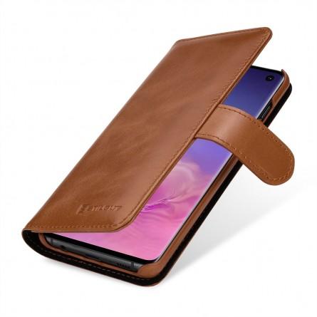 Etui Galaxy S10 portefeuille Talis en cuir véritable Cognac - StilGut