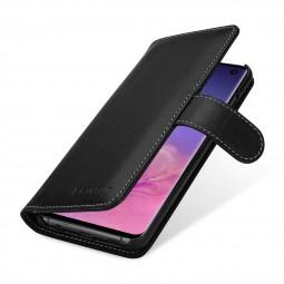 Etui Galaxy S10 portefeuille Talis en cuir véritable Noir Nappa  - StilGut