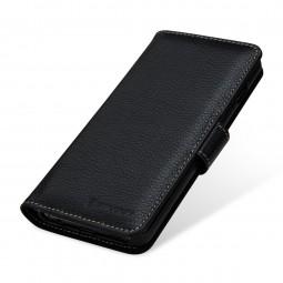 Etui Galaxy S10 portefeuille Talis en cuir véritable grainé Noir - StilGut