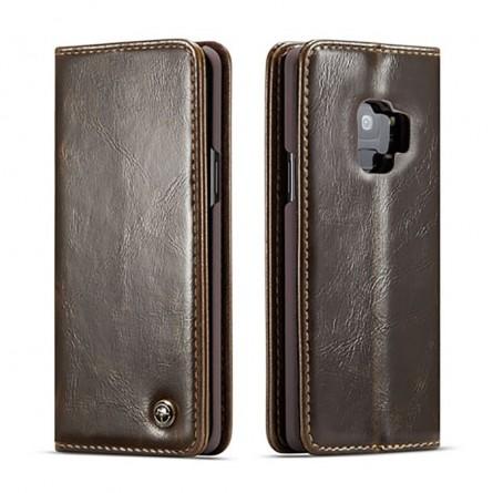 Etui Galaxy S9 Portefeuille marron - CaseMe