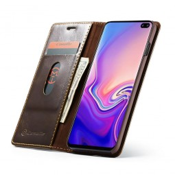 Etui Galaxy S10 Portefeuille marron - CaseMe