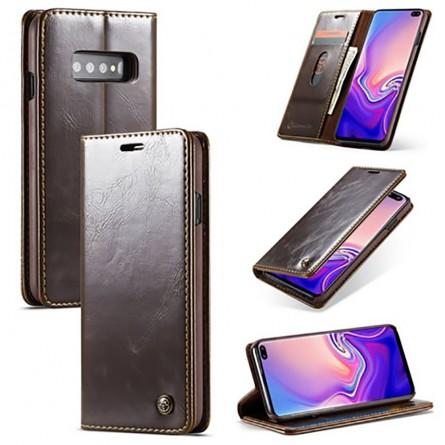 Etui Galaxy S10 Plus Portefeuille marron - CaseMe