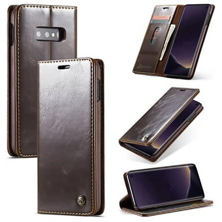 Etui Galaxy S10e Portefeuille marron - CaseMe