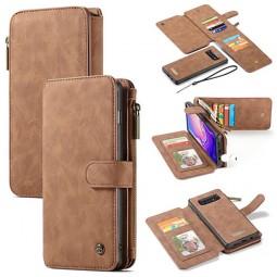 Etui Galaxy S10 Porte-cartes et Porte-monnaie Marron - CaseMe