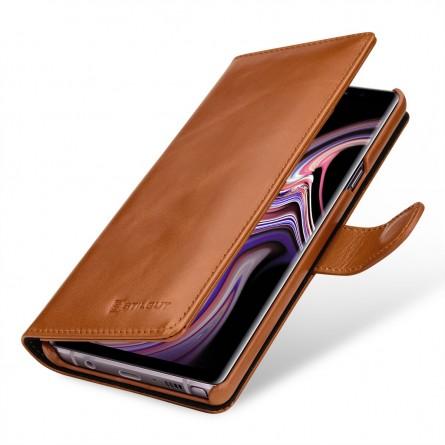 Etui Galaxy Note 9 portefeuille Talis en cuir véritable Cognac - StilGut