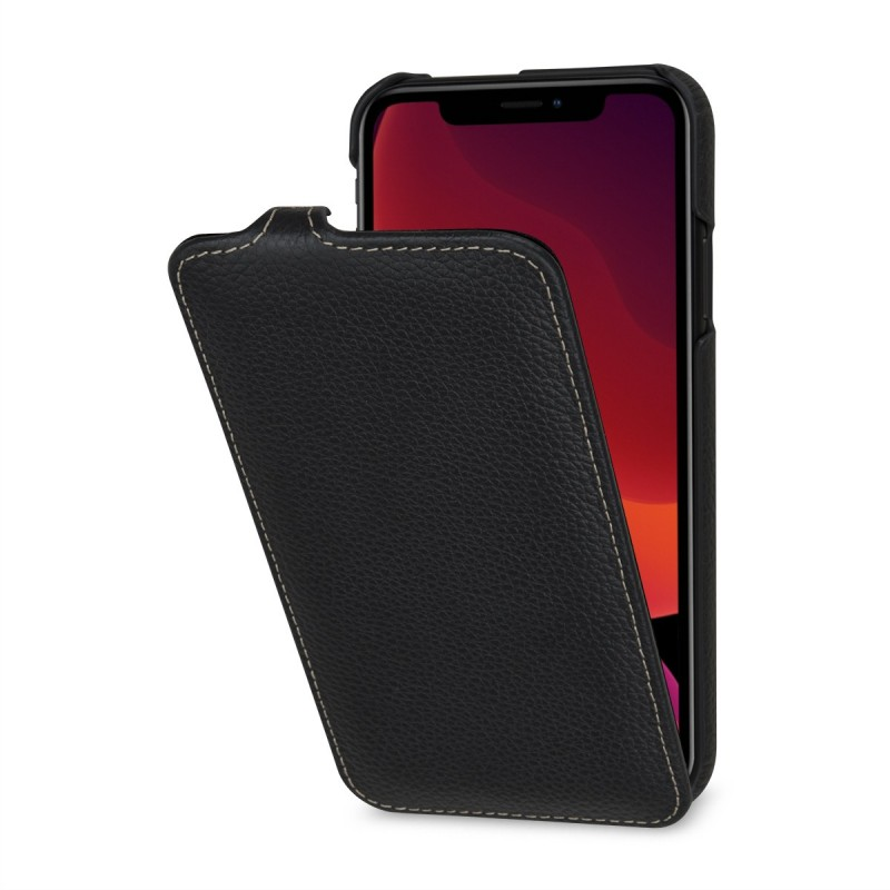 Etui compatible iPhone 11 UltraSlim en cuir véritable noir - StilGut