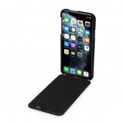 Etui compatible iPhone 11 Pro Max UltraSlim en cuir véritable noir - StilGut