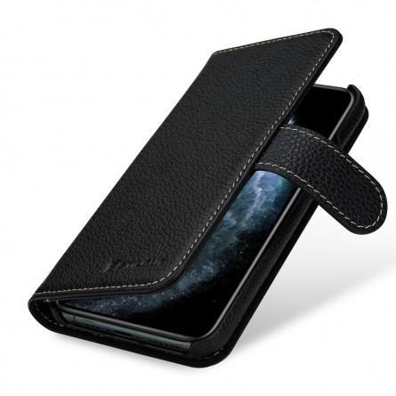 Etui compatible iPhone 11 portefeuille Talis en cuir véritable grainé Noir - StilGut