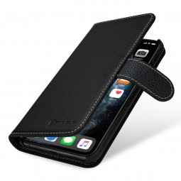 Etui compatible iPhone 11 Pro portefeuille Talis en cuir véritable grainé Noir - StilGut