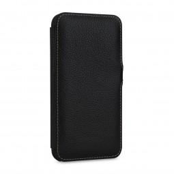 Etui compatible iPhone 11 Book Type avec clip en cuir véritable noir - StilGut