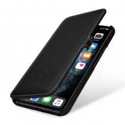 Etui compatible iPhone 11 Pro Max Book Type avec clip en cuir véritable noir - StilGut