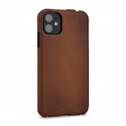 Etui compatible iPhone 11 UltraSlim en cuir véritable marron- StilGut