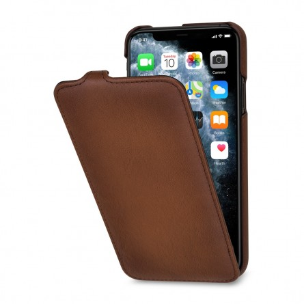 Etui compatible iPhone 11 Pro Max UltraSlim en cuir véritable marron - StilGut