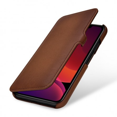 Etui compatible iPhone 11 Book Type avec clip en cuir véritable marron - StilGut