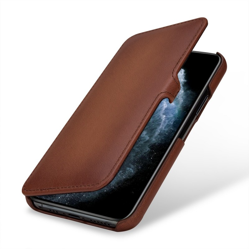 Etui compatible iPhone 11 Pro Book Type avec clip en cuir véritable marron - StilGut