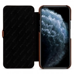Etui compatible iPhone 11 Pro Book Type avec clip en cuir véritable marron - StilGut