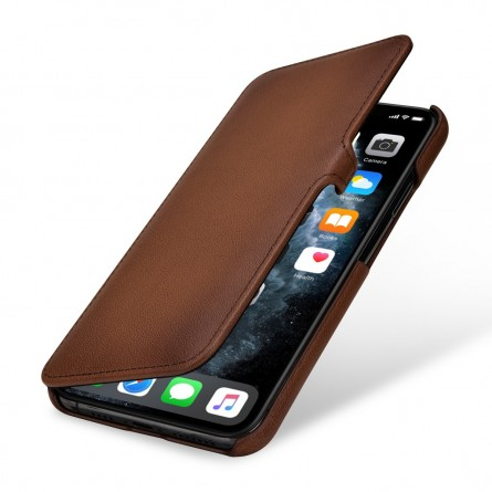 Etui compatible iPhone 11 Pro Max Book Type avec clip en cuir véritable marron - StilGut