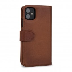 Etui compatible iPhone 11 portefeuille Talis en cuir véritable marron - StilGut