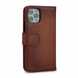 Etui compatible iPhone 11 Pro portefeuille Talis en cuir véritable marron - StilGut