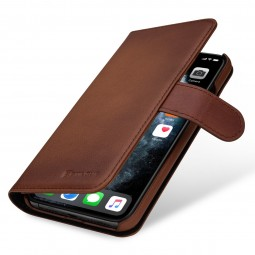 Etui compatible iPhone 11 Pro Max portefeuille Talis en cuir véritable marron - StilGut