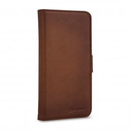 Etui compatible iPhone 11 Pro Max portefeuille Talis en cuir véritable marron - StilGut