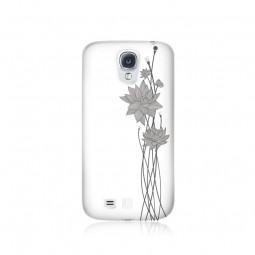 Coque lotus strass blancs Swarovski pour Galaxy S4