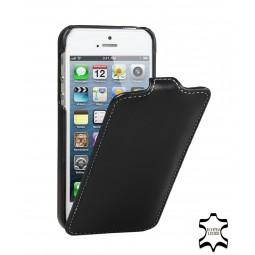 StilGut étui UltraSlim en cuir véritable noir-nappa pour iPhone 5/5S