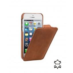 StilGut étui UltraSlim en cuir véritable cognac vintage pour iPhone 5/5S