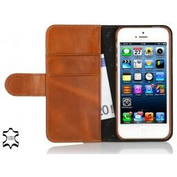 StilGut étui portefeuille Talis en cuir véritable cognac pour iPhone 5/5S